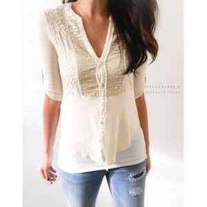 Anthro TINY cream floral & sequin button down top